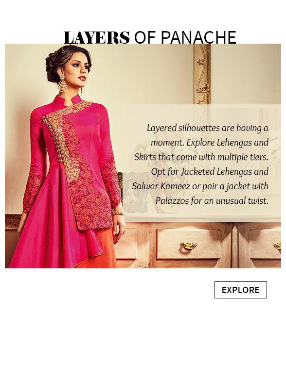Jacket style Lehengas, Jackets with Salwar kameez, Palazzos and Indo Westerns. Shop!