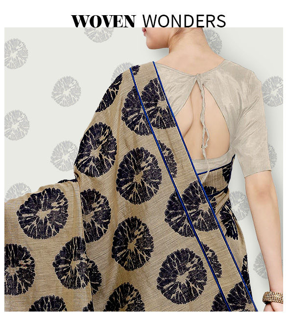 Woven Sarees: Chanderi, Jamdani, Bhagalpuri, Banarasi, Mangalgiri, Ikat and more. Shop!