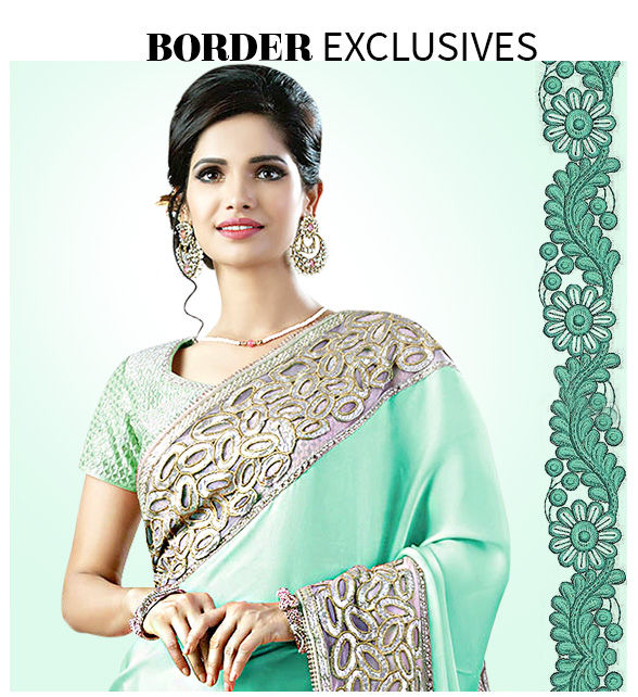 Sarees with statement embroidered, textured or woven borders. Shop!