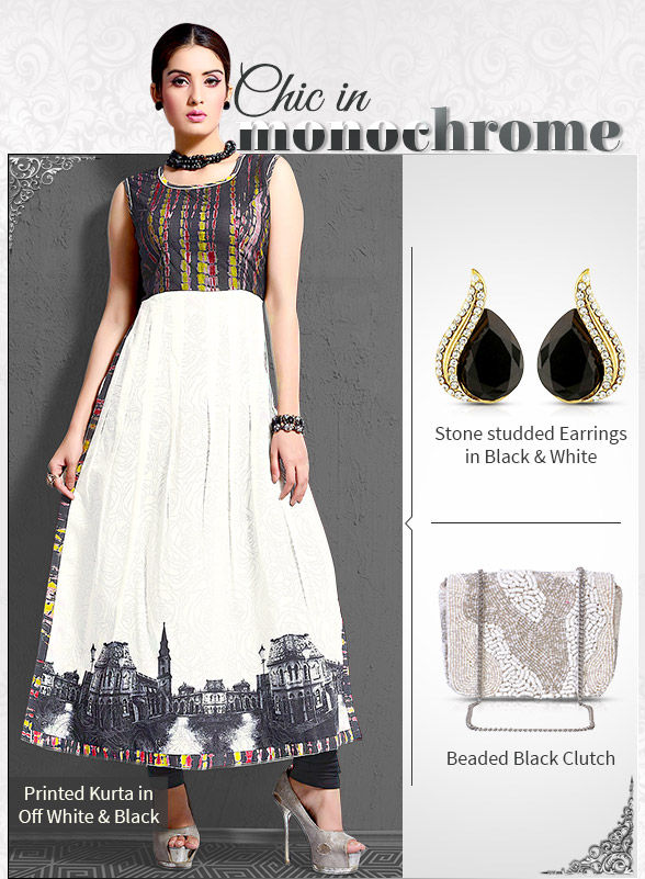 Monochrome Printed Kurtas in classic Black & White with add-ons. Shop!