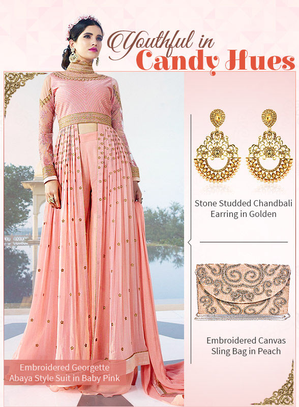 Attractive Salwar Suits in Pastels, Soft Pops & Pinks with add-ons. Shop!