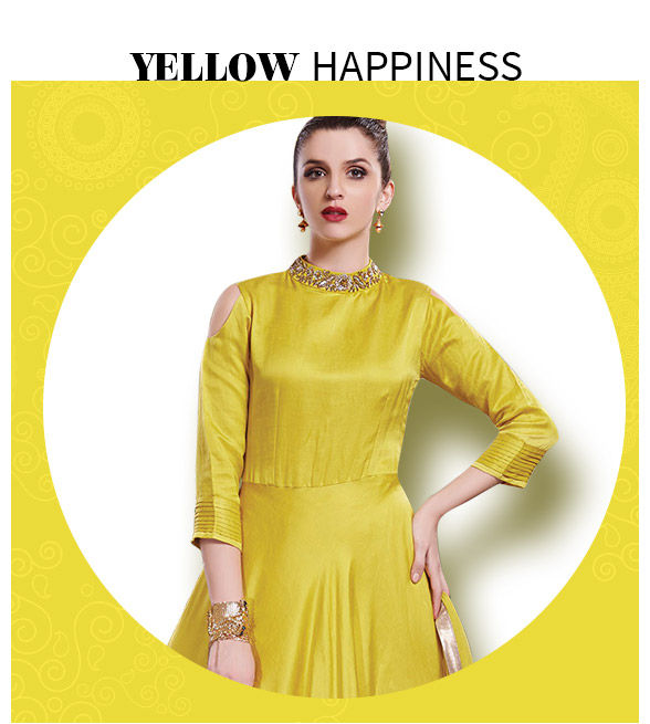 Sarees, Salwar Suits, Lehengas, Indo Westerns in yellow shades. Shop now!