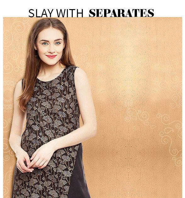 Fancy palazzos, skirts, tops, kurtis, long kurtas, tunics and more. Shop!