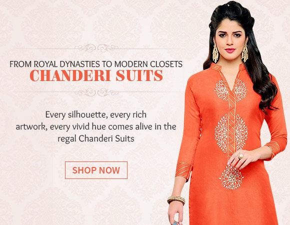 Chanderi Suits in vivid hues. Shop!