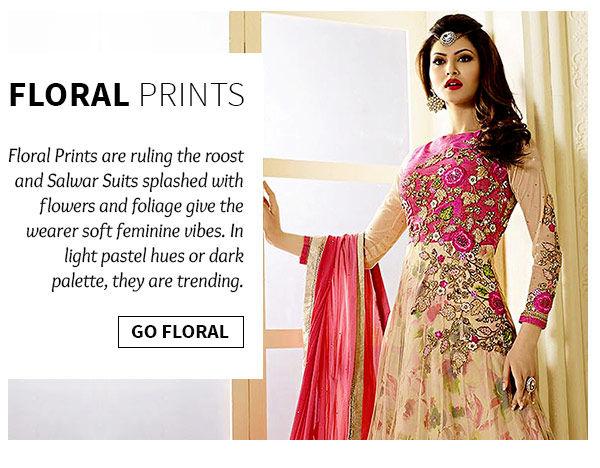Shop salwar suits with floral prints