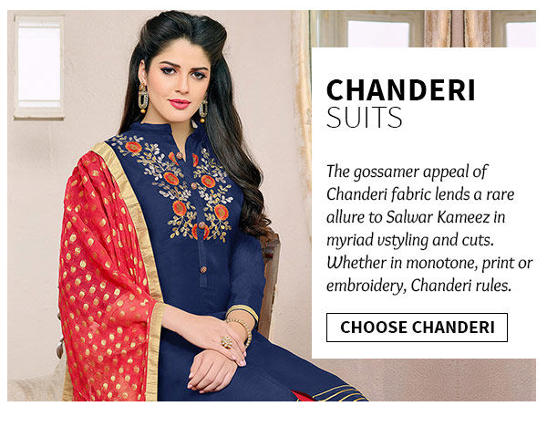 Shop chanderi fabric salwar suits from largest range