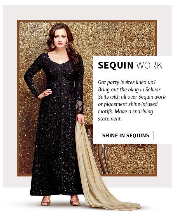 Shop salwar suits with sequins work