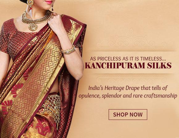 Beautiful Kanchipuram Silk Sarees with rich hues and golden borders. Shop!