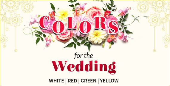 Explore the 4 holi colors of indian wedding. Red, White, Green and Yellow.