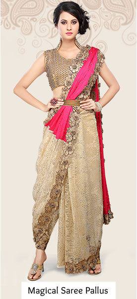 Explore the enchanting saree pallus in Embroidered, Printed and Woven styles.