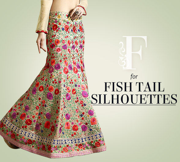 Lehenga Cholis with Fish Tail Silhouettes in myriad hues & work. Shop!
