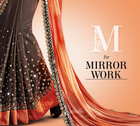Mirror work artistry in Sarees, Salwar Kameez, Lehengas & more. Shop!