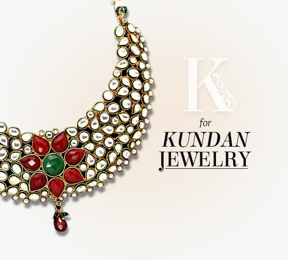 Kundan Jewelry of neck pieces, earrings, bangles & more. Shop!