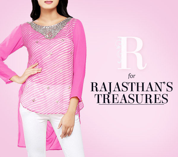 Rajasthan's legacy of Leheriya & Bandhej prints in all attires. Shop!
