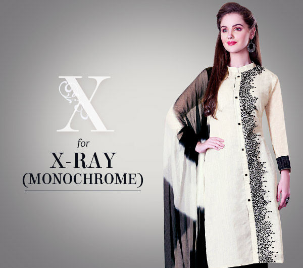 X-ray mix of Black & White in Sarees, Salwar Kameez, Indo Westerns & Bags. Shop!