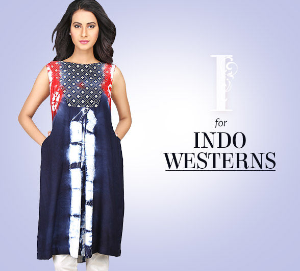 Indo Westerns like Skirts, Palazzos, Kurtis, Gowns & more. Shop!
