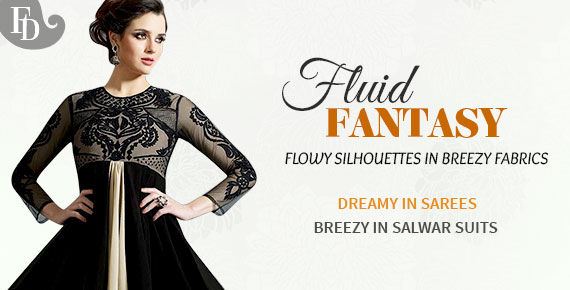 Georgette, Chiffon & Satin Sarees, Anarkalis, Abaya style Suits, Lehengas & more. Shop!