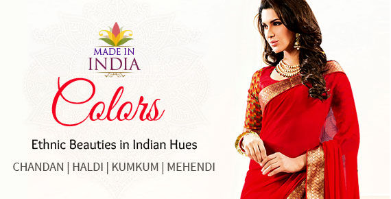 Printed & Embroidered Attires in Beige, Gold, Yellow, Red & Green. Shop!