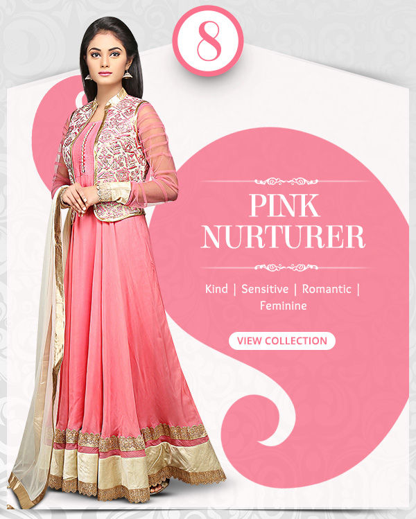 Attractive range of Sarees, Salwar Kameez, Lehengas, Indo Westerns & Add-ons in shades of Pink. Shop!