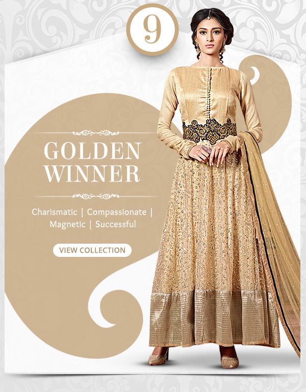 Lustrous range of Sarees, Salwar Kameez, Lehengas, Indo Westerns & Add-ons in shades of Gold. Shop!