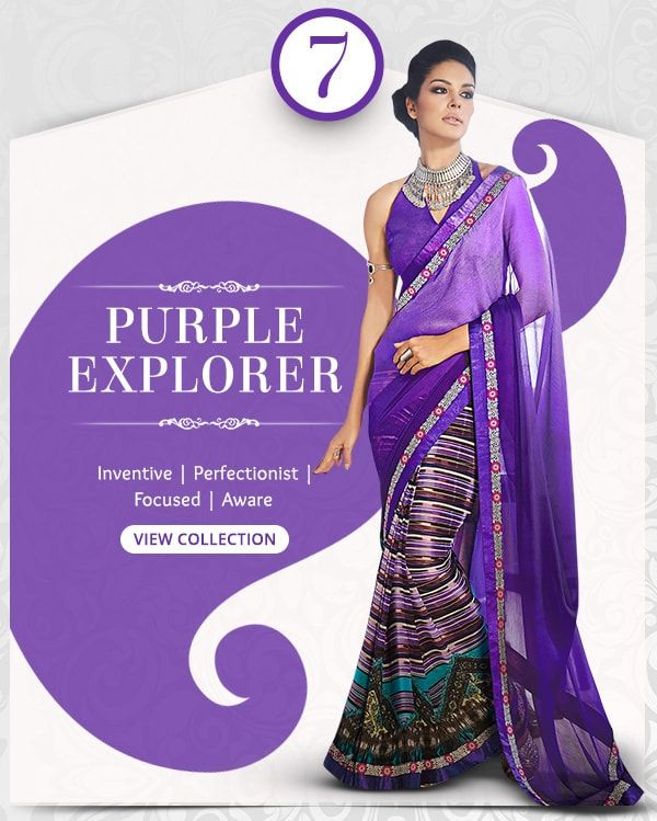 Enchanting range of Sarees, Salwar Kameez, Lehengas, Indo Westerns & Add-ons in shades of Purple. Shop!