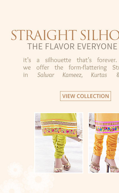 Trend inspired Straight Cut Collection in Salwar Kameez, Kurtas, Tunics & more. Shop!