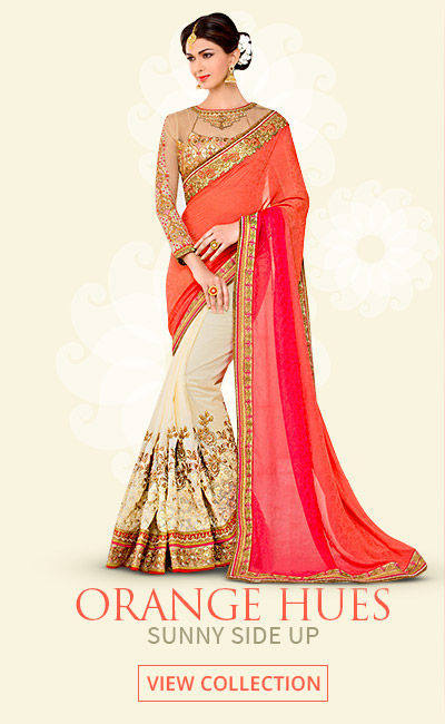 Orange Hues - Trend of Tangerine in Sarees, Salwar Kameez, Lehengas, Tunics & more. Shop!