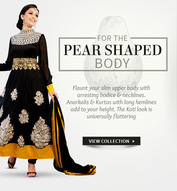 Attractive Anarkalis in fluid fabrics for Pear shaped women. Shop!
