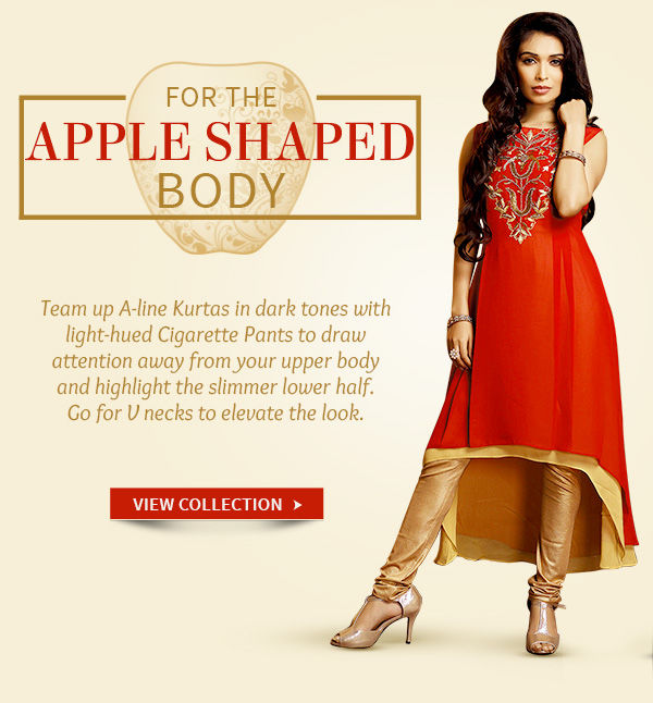 A-line Kurtas with light work or prints for Apple shaped women. Shop!