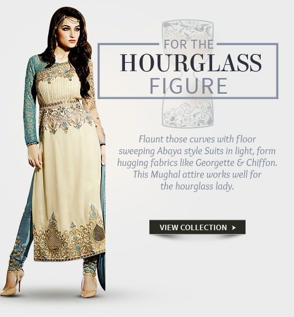 Abaya style Suits in Georgette and Net for Hourglass shaped women. Shop!