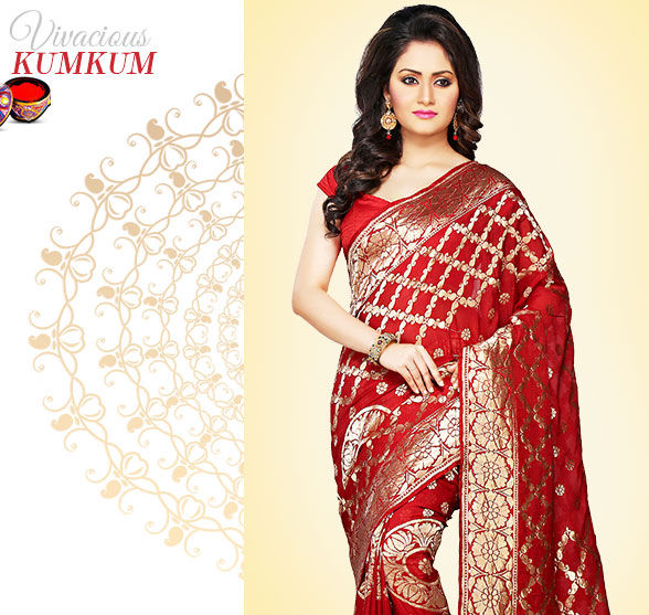 Priceless Sarees in Banarasis, Brocades, Sournachuis & more in shades of Red. Shop!
