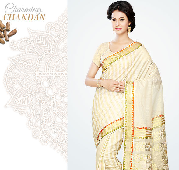 Kanjivaram, Kerala Kasavu, Bengal Cotton Sarees & more in Beige & Gold. Shop!