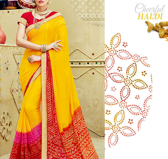 Vibrant Lehariya, Bandhej Sarees & more in hues of Yellow. Shop!