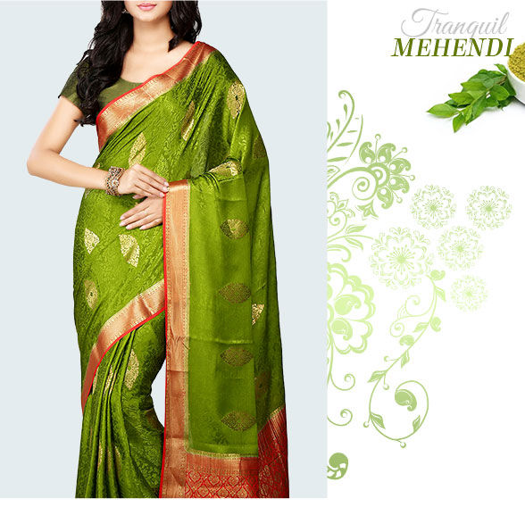 Array of Bangalore Silk & Mysore Silk Sarees in Green. Shop!
