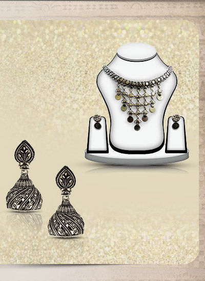 Traditional Jewelry in Oxidized Metal from Gujarat. Shop!