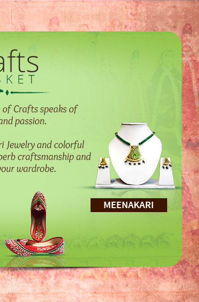 Select Meenakari Jewelry and handcrafted Mojaris in the Rajasthan Collection. Treasure!