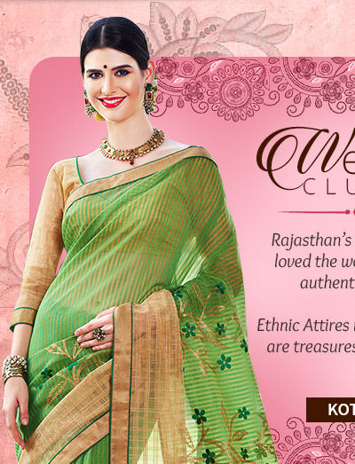 Choose Ethnic Attires in Kota Doria in the Rajasthan Collection. Buy now!