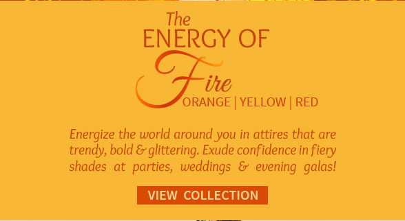 Sarees, Salwar Kameez, Lehengas & Indo Westerns in Orange, Yellow & Red. Shop!