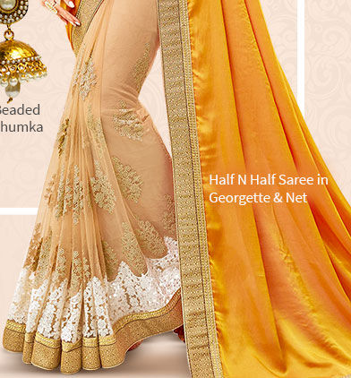 Sarees in Chiffon, Georgette and Satin with add-ons for a fluid look. Shop!