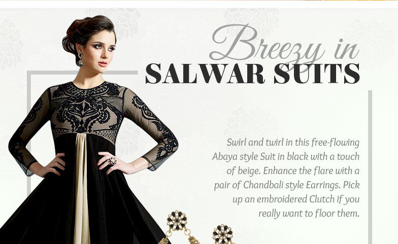 Anarkalis & Abaya style Suits in Chiffon, Georgette and Satin with add-ons. Shop!
