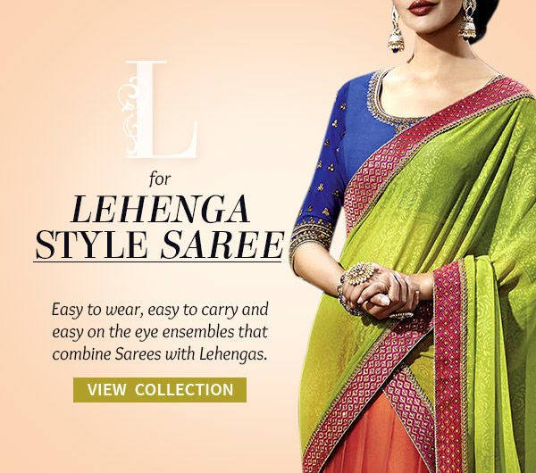 Lehenga Style Sarees with Floral Motifs & Work in Net, Georgette & Velvet. Shop!