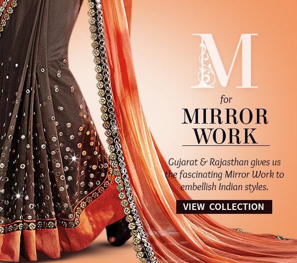 Mirror work artistry in Sarees, Salwar Kameez, Lehengas & more. Shop!