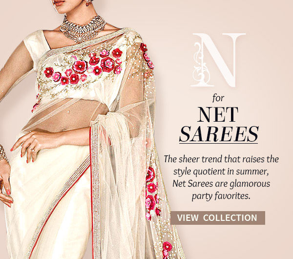 Net Sarees for parties in different colors & embellishments. Shop!