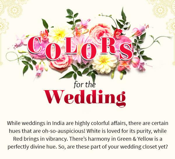 Auspicious hues for Weddings: White, Red, Green, Yellow Ensembles. Shop!