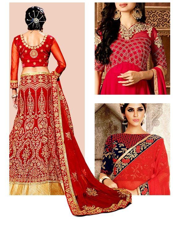 Red Bridal Ensembles in Banarasi Silk, Georgette Sarees, A-line Lehengas & more. Shop!