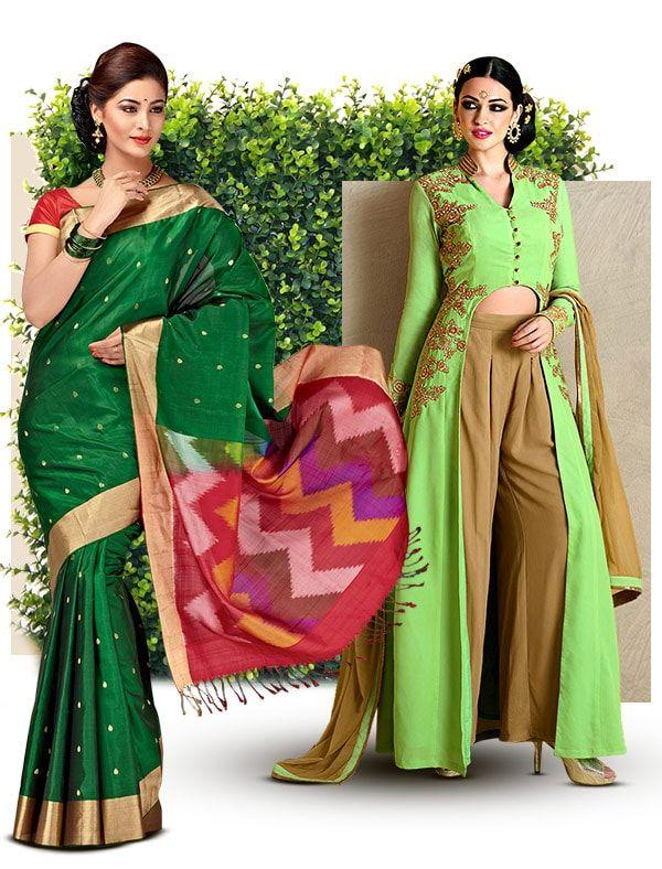 Green Bridal Ensembles in Half-n-Half Sarees, Resham work Suits, Circular Lehengas & more. Shop!