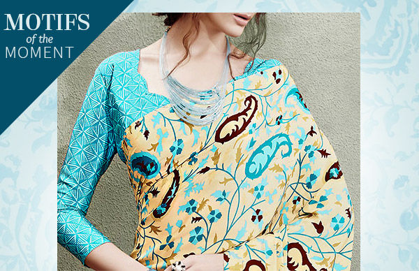 Gorgeous Sarees, Salwar Suits and Indo western Dresses with Paisley motifs. Shop!
