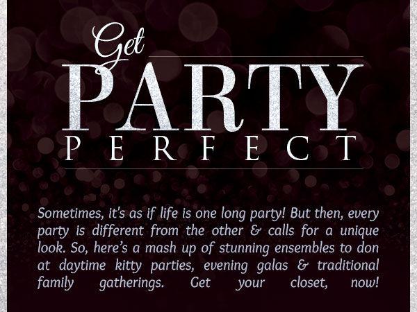 Glamorous lineup of Half Half Sarees, Front Slit Kurtas, Border Sarees & more for parties. Shop!