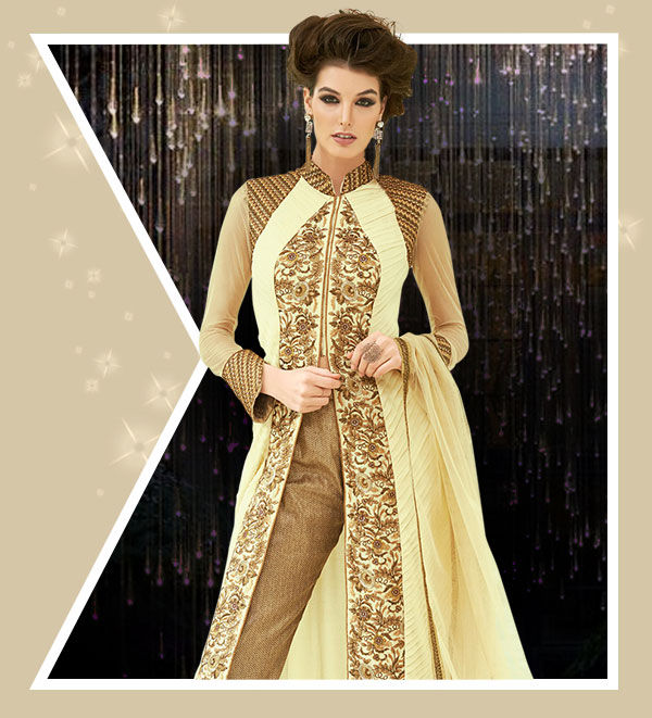 Net Embroidered Sarees, Slit Suits, Tops and Bottom Sets for for Club Parties. Shop!