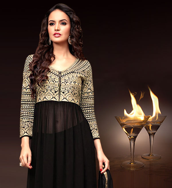 Zari, Stone, Sequin work Ensembles in Net & Chiffon for evening parties. Shop!